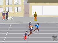 Course de sprint en pleine rue